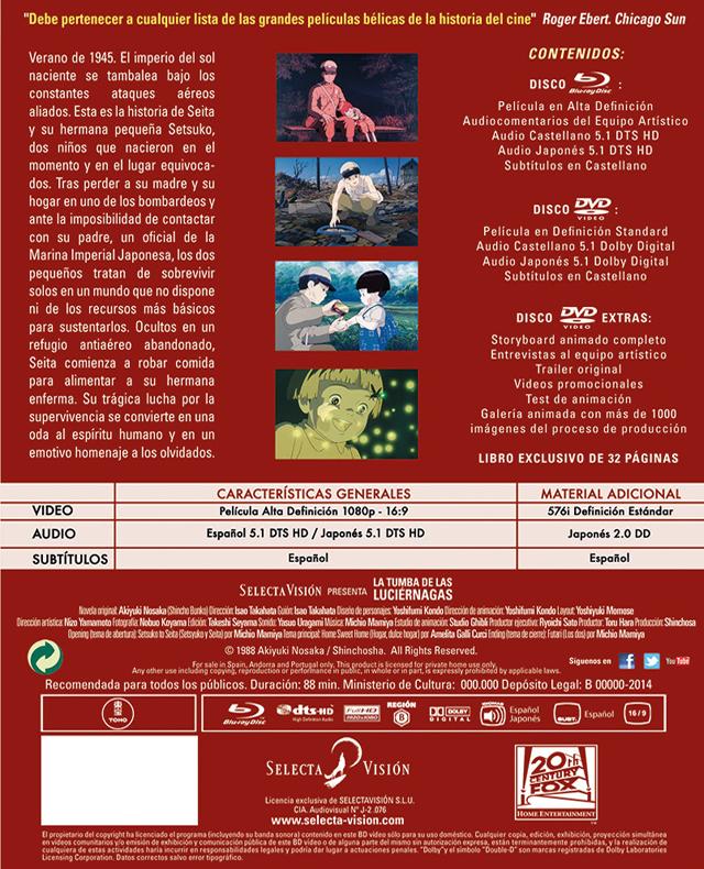 A la venta 'La Tumba de las Luciérnagas' en Edición Coleccionista con DVD, Blu-ray ,DVD extras y libro