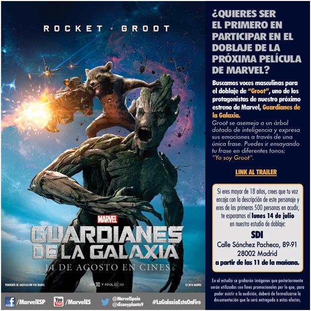 ¿Quieres dar voz a uno de los personajes principales de 'Guardianes de la Galaxia'?