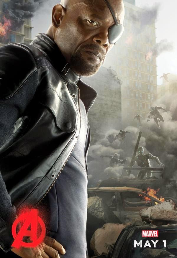 Samuel L. Jackson muestra los tres siguientes pósters individuales de 'Vengadores: La era de Ultrón'