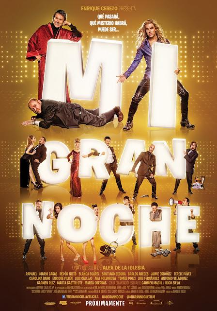 Póster oficial de 'Mi gran noche' de Álex de la Iglesia con Raphael y Mario Casas
