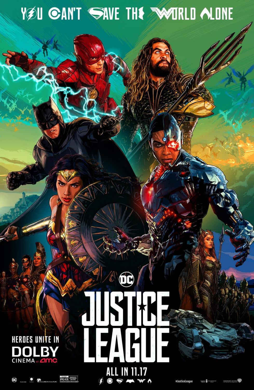 'Liga de la Justicia': Completo póster ilustrado con el reparto al completo