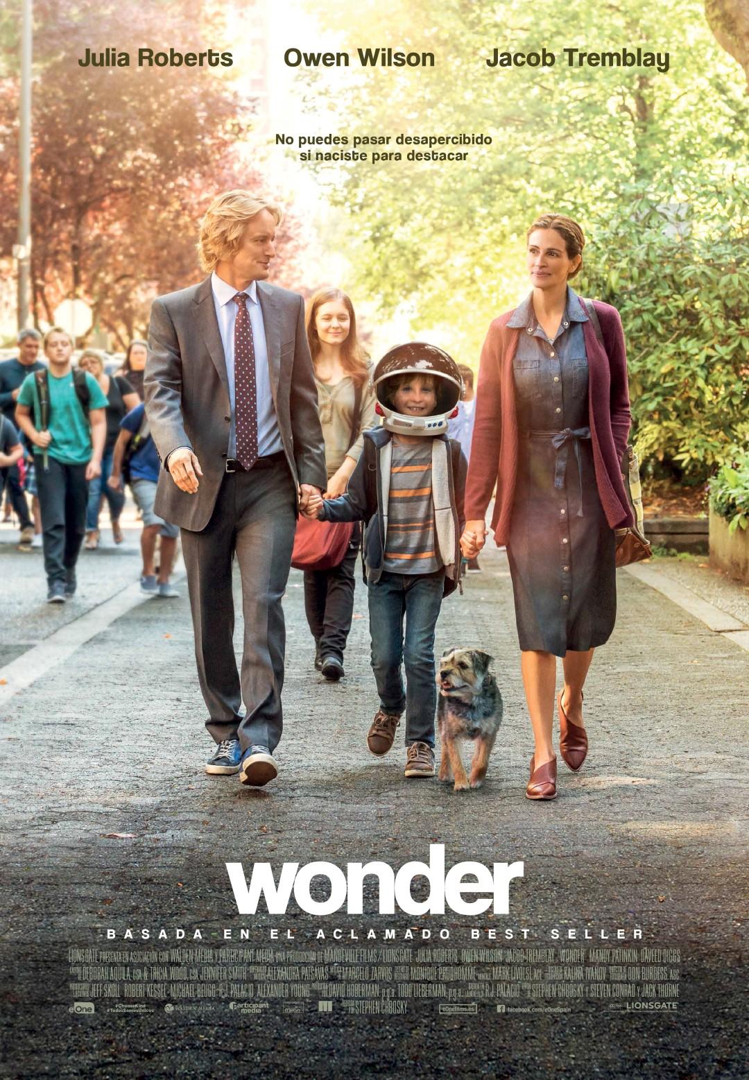'Wonder': Nuevo póster de la emocionante historia con Julia Roberts y Owen Wilson