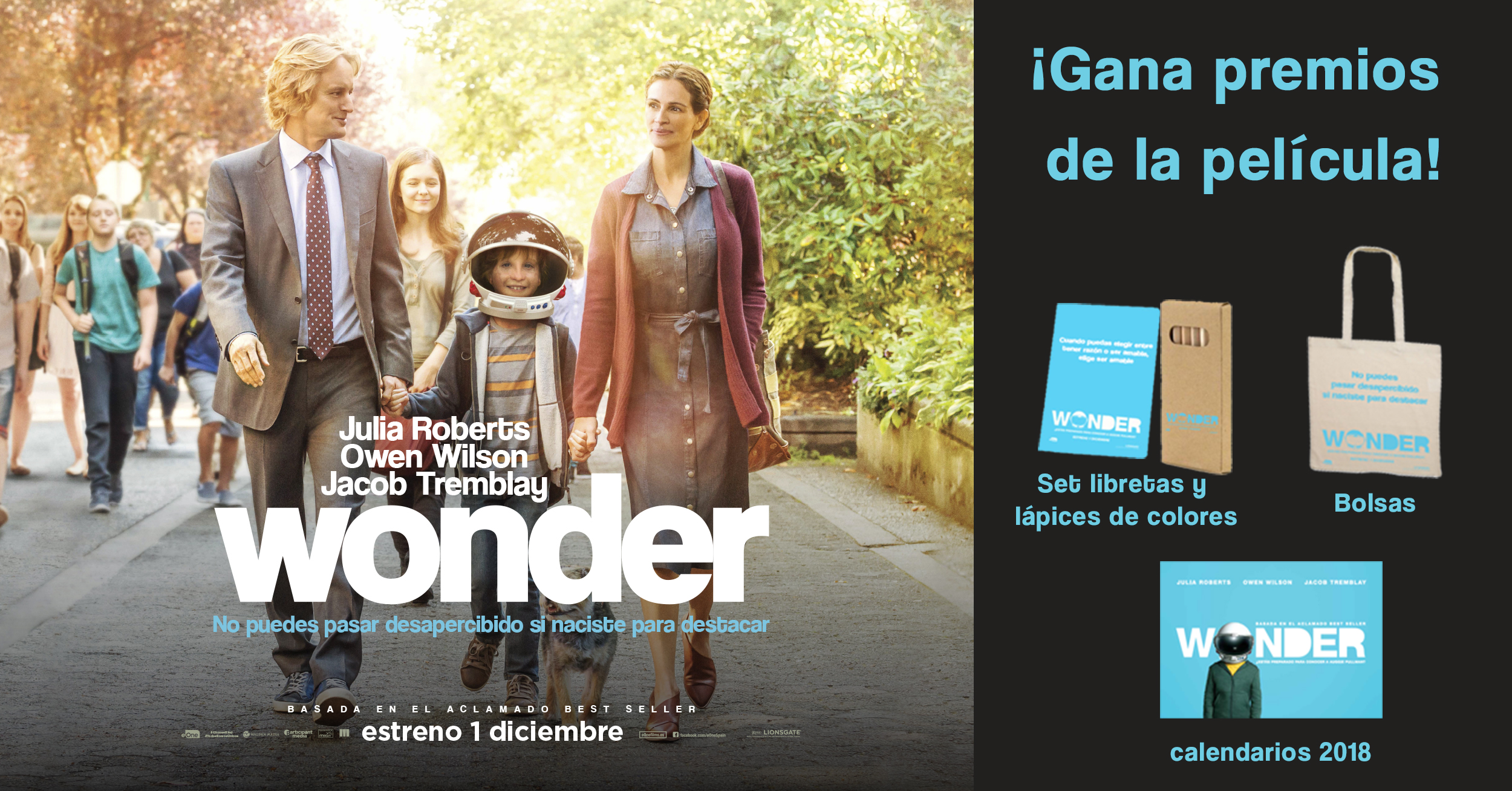 Sorteo 'Wonder': Tenemos packs de merchandising para vosotros