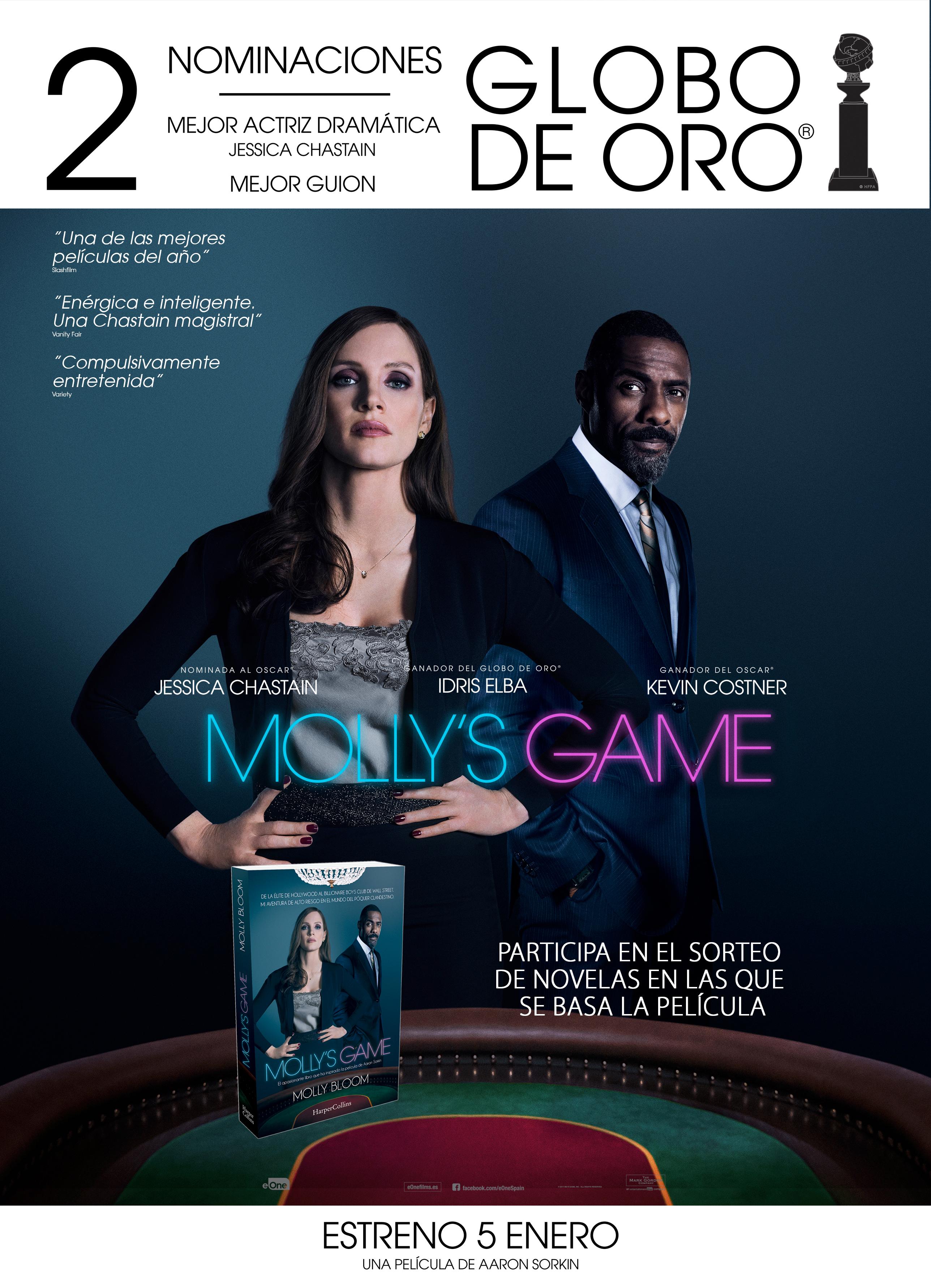 Sorteo 'Molly's Game': Tenemos novelas en las que se basa la película